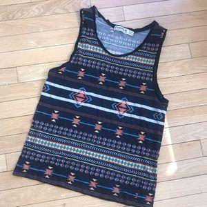 👑TOPMAN TOPSHOP medium Aztec print tank top shirt